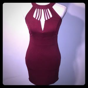 Dresses & Skirts - ✨ NWT Burgundy cage mini dress✨ Super Sexy💕